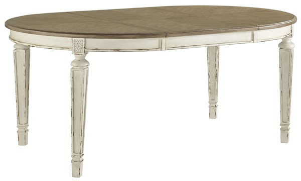 Ashley Furniture Realyn Chipped White Oval Dining Extension Table D743-35