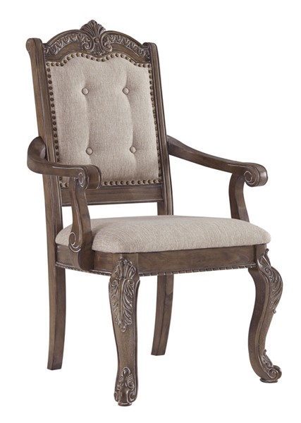 2 Ashley Furniture Charmond Brown Dining Upholstered Arm Chairs D803-01A