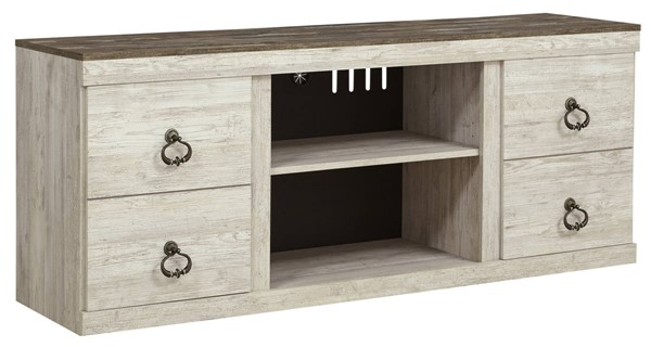 Ashley Furniture Willowton Whitewash LG TV Stand With Fireplace Option EW0267-168