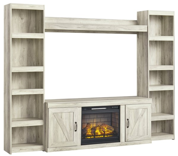 Ashley Furniture Bellaby Whitewash Entertainment Center Wall With Fireplace Insert Infrared EW0331-ENT-S3