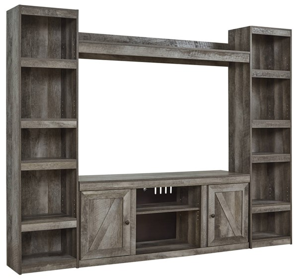 Ashley Furniture Wynnlow Gray Entertainment Center With Fireplace Glass Stone EW0440-ENT-S3