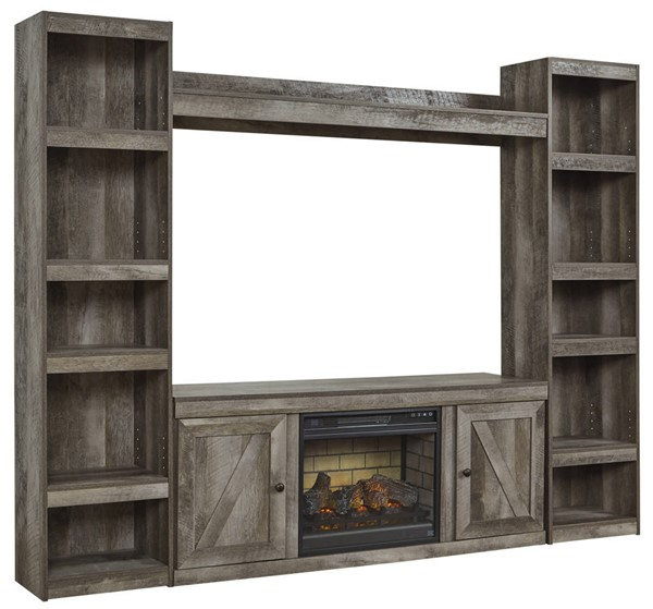 Ashley Furniture Wynnlow Gray Entertainment Center With Fireplace Infrared EW0440-ENT-S2