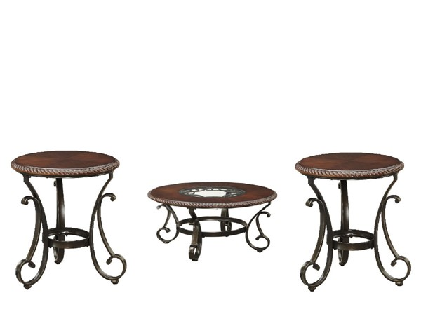 Gambrey Old World Reddish Brown 3pc Coffee Table Set T626-6-8