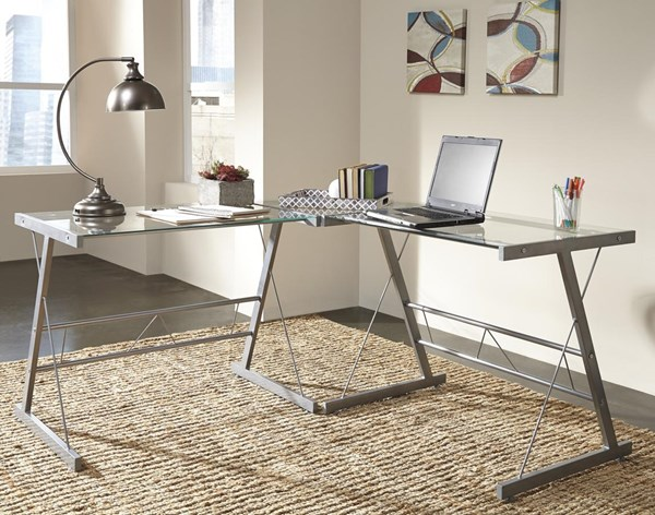 Ondie Contemporary Silver Glass Metal L-Desk H120-24