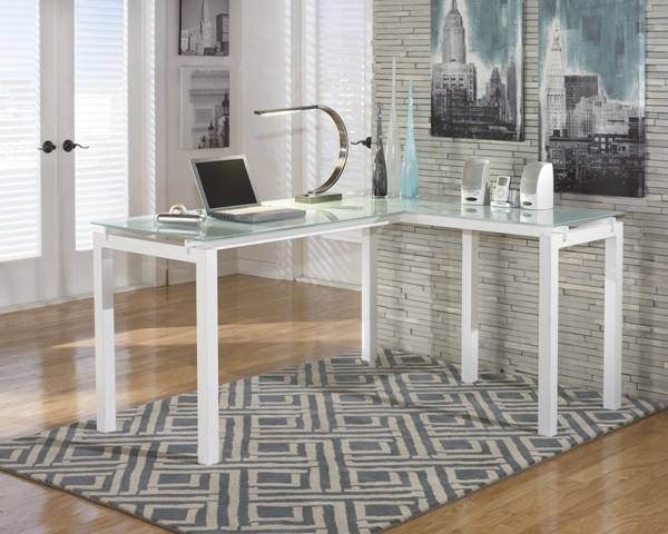 Ashley Furniture Baraga White L Desk H410-24