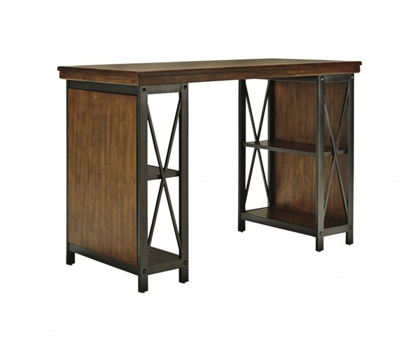 Shayneville Rustic Brown Wood Metal Home Office Counter Large Desk H526-34
