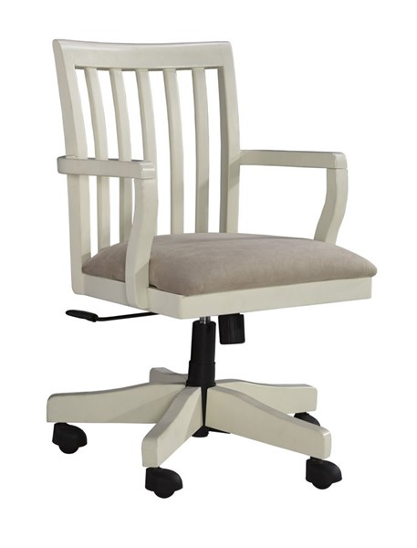 Sarvanny Casual White Wood Fabric Home Office Desk Chair H583-01A