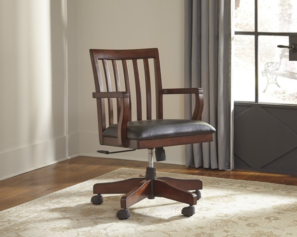Wassner Vintage Casual Dark Brown Home Office Swivel Desk Chair H584-01A
