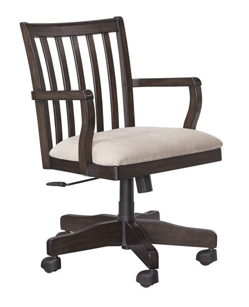 Townser Grayish Brown Fabric Solid Wood Home Office Swivel Desk Chair H636-01A