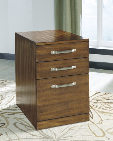 Lobink Contemporary Brown Wood File Cabinet H641-12
