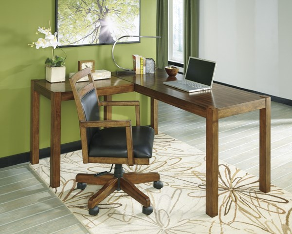 Lobink Brown Upholster Wood Home Office Desk w/Chair H461-24-01