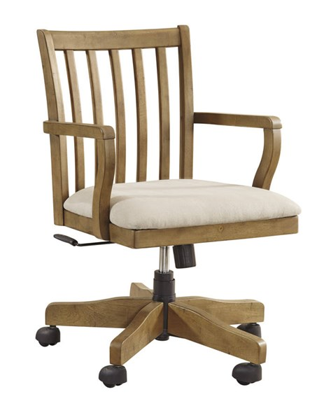 Trishley Casual Light Brown Fabric Wood Home Office Swivel Desk Chair H659-01A