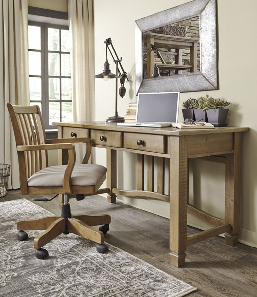 Trishley Casual Light Brown Fabric Solid Wood Desk Amp Chair Set The Classy Home