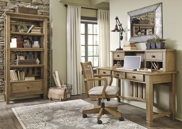 Trishley Casual Light Brown Fabric Solid Wood Office Furniture Set H659-HOF