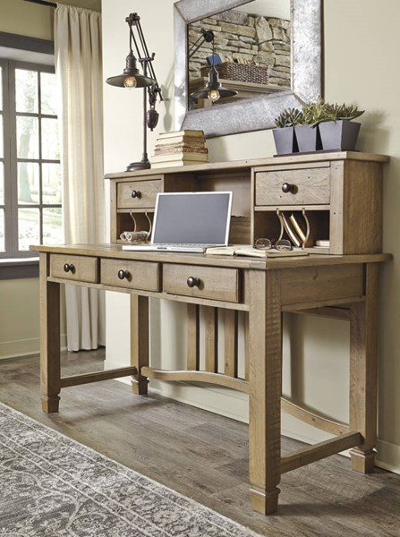Trishley Casual Light Brown Solid Wood Home Office Desk W/Hutch H659-HOF-HD-S1