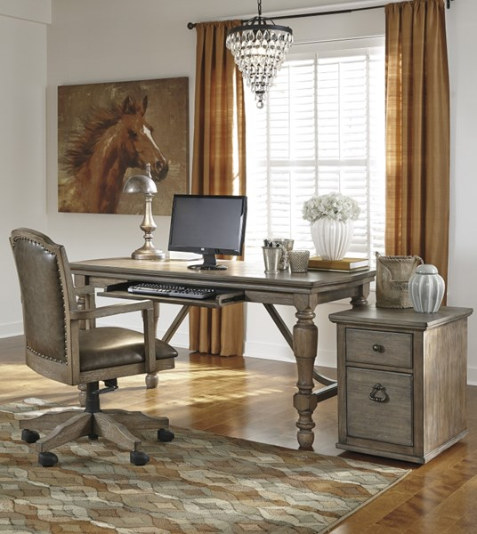 Tanshire Wood Faux Leather 3pc Home Office Furniture Set H688-HOMOFF-S