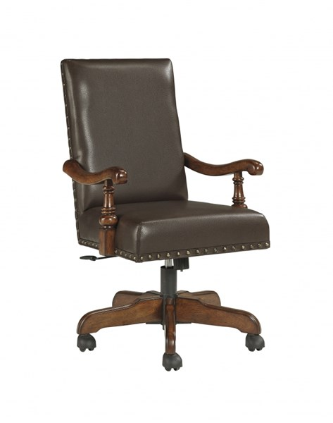 Gaylon Wood Faux Leather Home Office Swivel Desk Chair H704-01A