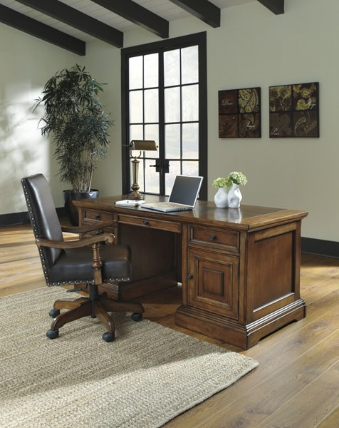 Gaylon Traditional Classics Brown Wood Home Office Desk w/Chair H704-01A-27