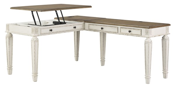 Ashley Furniture Realyn Two Tone Lift Top L Desk H743-134-34R