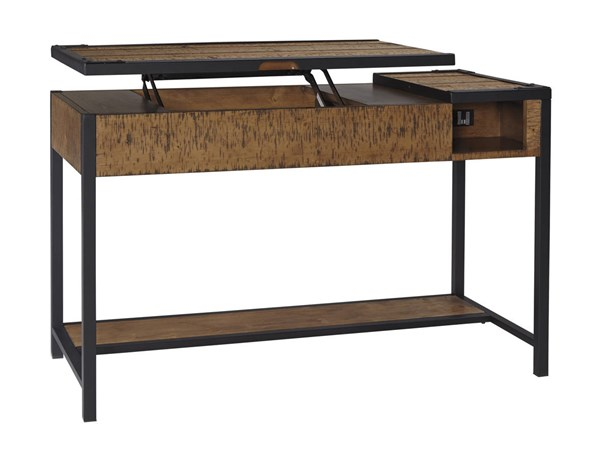 Kalean Contemporary Two Tone Wood Metal Home Office Lift Top Desk H817-29