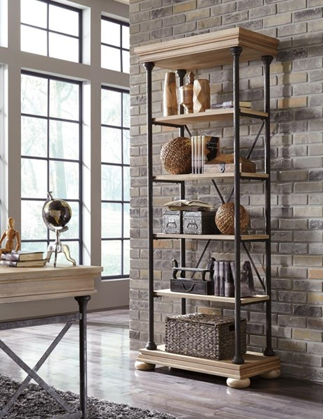 Shennifin Vintage Casual Light Brown Wood Large Bookcase H862-17