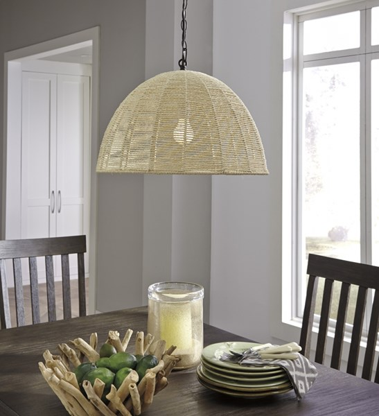 Jovan Cottage Natural Paper Rope Pendant Light (1/CN) L000338