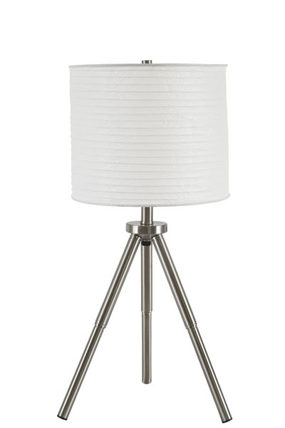 Susette Contemporary Brushed Silver Finish Metal Table Lamp (2/CN) L204144