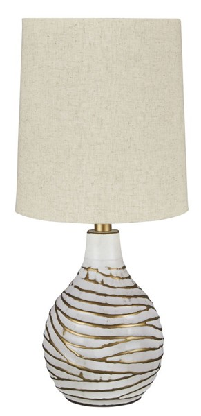 Ashley Furniture Aleela White Gold Metal Table Lamp L204194
