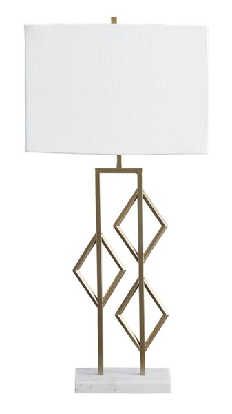 Ashley Furniture Edsel Champagne Metal White Marble Table Lamp L208224