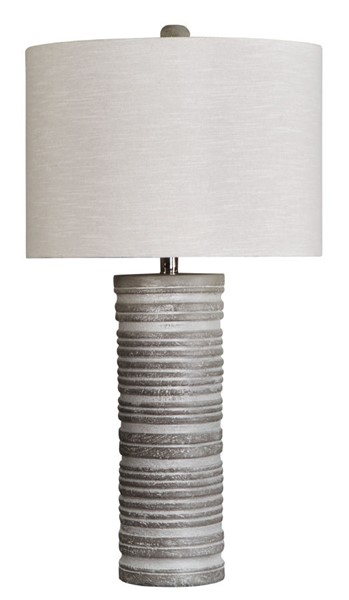 2 Ashley Furniture Nadyia Contemporary Gray Paper Table Lamps L235604
