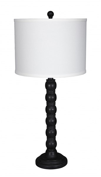2 Shellany Cottage Antique Black Poly Table Lamps L276004