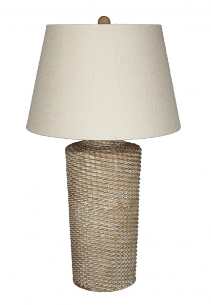Stefenney Cottage White Wash Rattan Table Lamp (1/CN) L327154