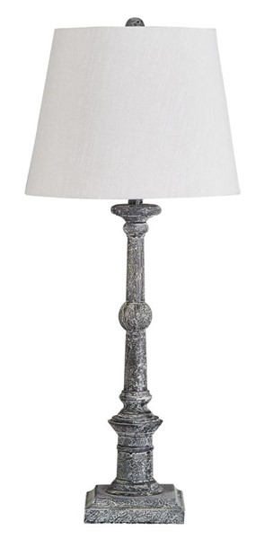 2 Ashley Furniture Zimba Antique Gray Wood Table Lamps L328604