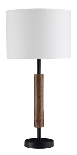 2 Ashley Furniture Maliny Black Brown Wood Table Lamps L328964