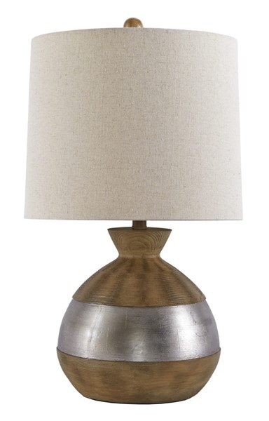 Ashley Furniture Mandla Brown Silver Poly Table Lamp L328994