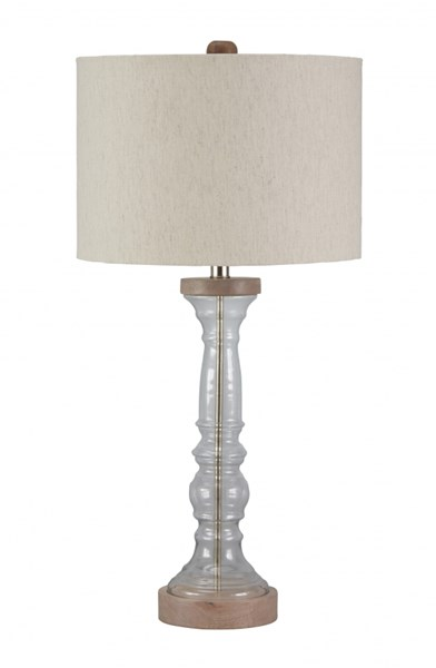 Tad Cottage Clear Gray Glass 3 Way Switch Table Lamp L430254