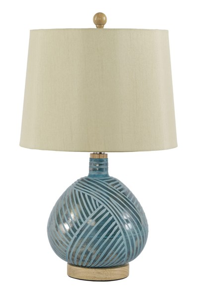 Ashley Furniture Jenaro Teal Glass Table Lamp L430564