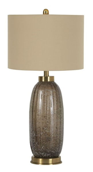 2 Ashley Furniture Aaronby Contemporary Taupe Glass Table Lamps L430704