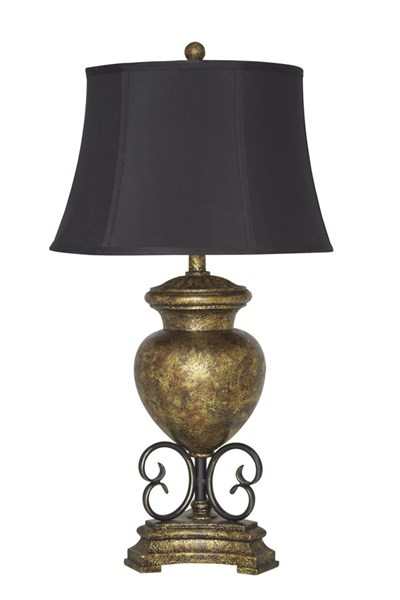 Archwood Traditional Black Gold Poly Table Lamp L511954
