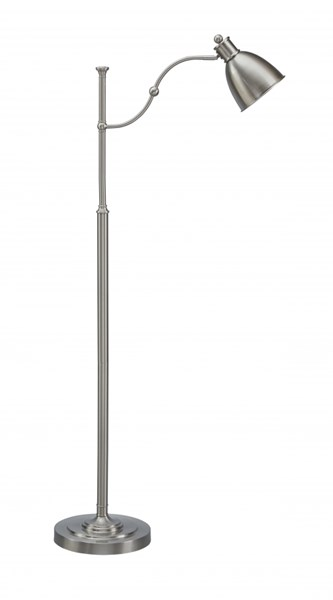 Shavaun Brushed Silver Finish Metal On/Off Switch Floor Lamp L734091