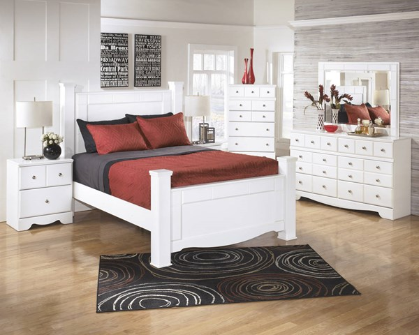 Weeki Contemporary White Wood 2pc Bedroom Set W/King Poster Bed B270-S4