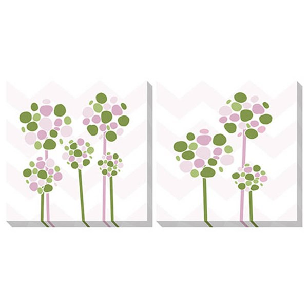 2 Berry Contemporary Pink White Green Wall Art Sets A8000166