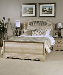 Catalina Elegant Antique White Wood Queen Sleigh Bed B196-QSB