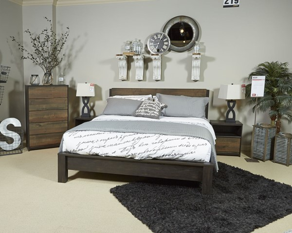 Windlore Contemporary Dark Brown Wood Glass 2pc Bedroom Sets B320-BR-S-VAR