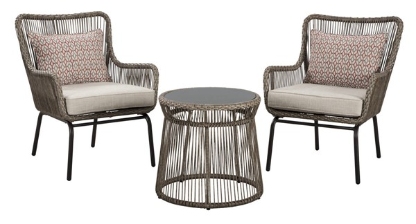 Ashley Furniture Cotton Road Brown 3pc Outdoor Chair And Ottoman Set P308-050