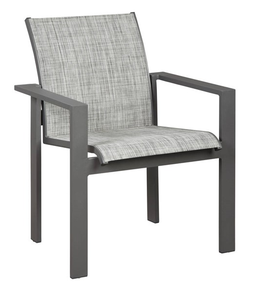 4 Ashley Furniture Okada Gray Outdoor Dining Sling Arm Chairs P315-601A