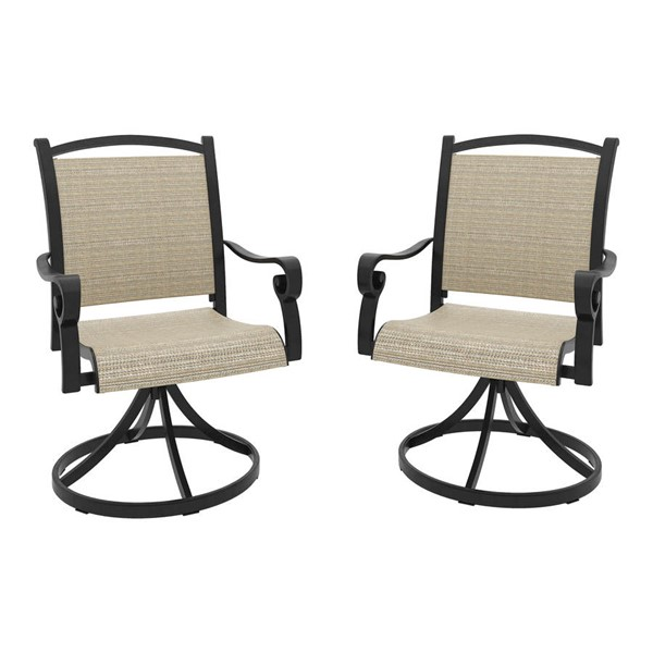 2 Ashley Furniture Bass Lake Beige Brown Sling Swivel Chairs P317-602A