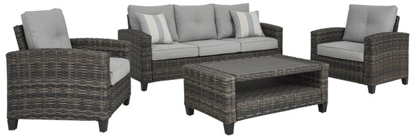 Ashley Furniture Cloverbrooke Gray 4pc Outdoor Seating Set P334-081