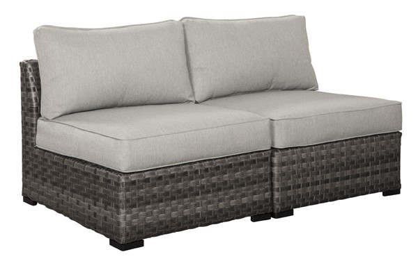 2 Ashley Furniture Spring Dew Gray Fabric Armless Chairs P453-846