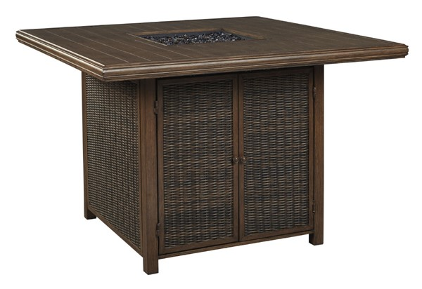 Ashley Furniture Paradise Trail Medium Brown Square Bar Table With Fire Pit P750-665